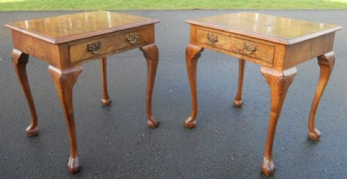 Pair Antique Style Walnut Lamp Tables